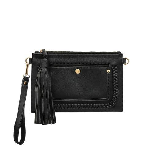 Braided Convertible Clutch (Black)