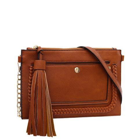 Braided Convertible Clutch (Russet Brown)