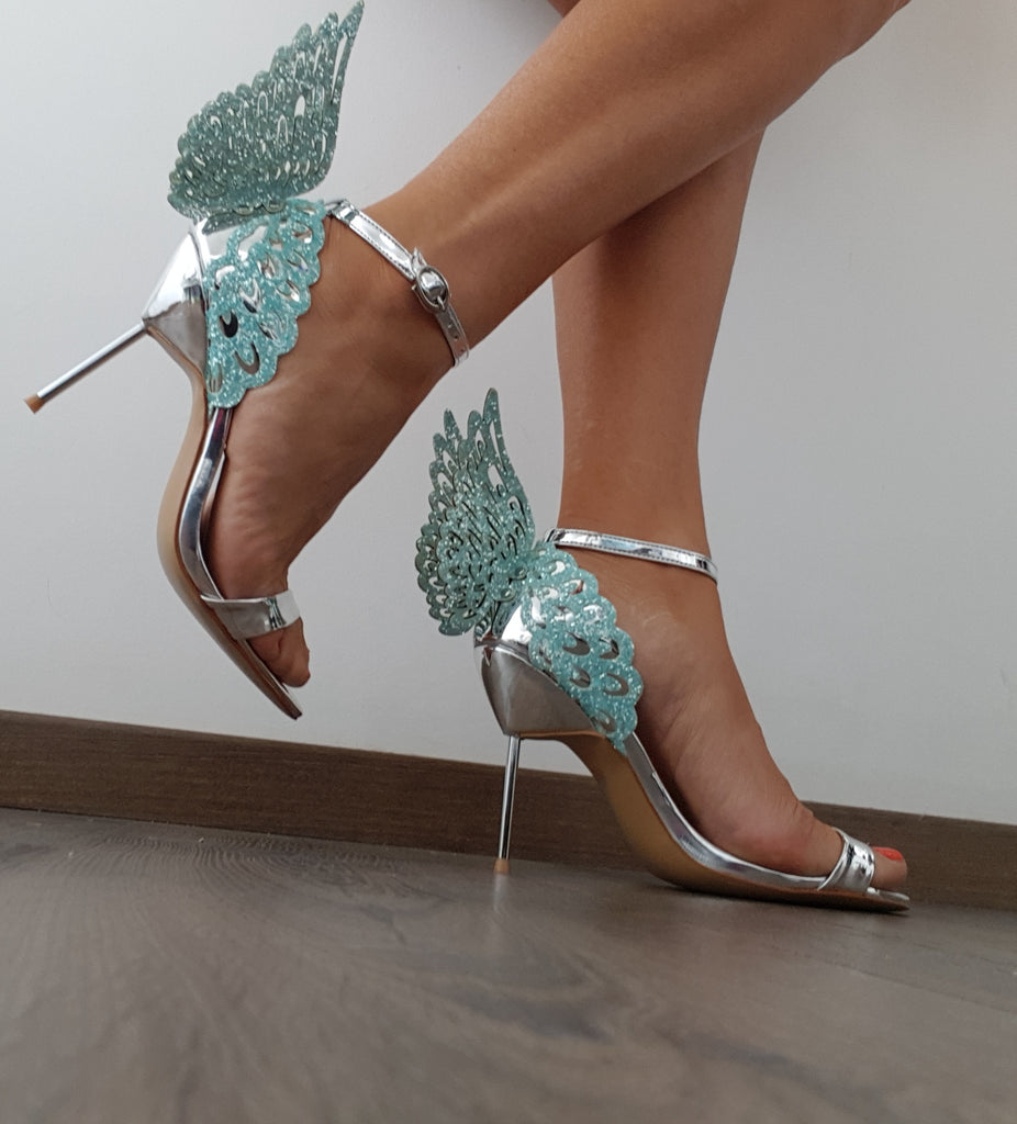ab4787ee0d956 Angel Leather Sandals Lake Blue and Silver – luxofchic