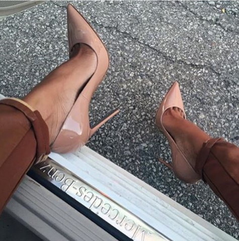 Leah Nude Patent Leather Pumps-luxofchic-luxofchic