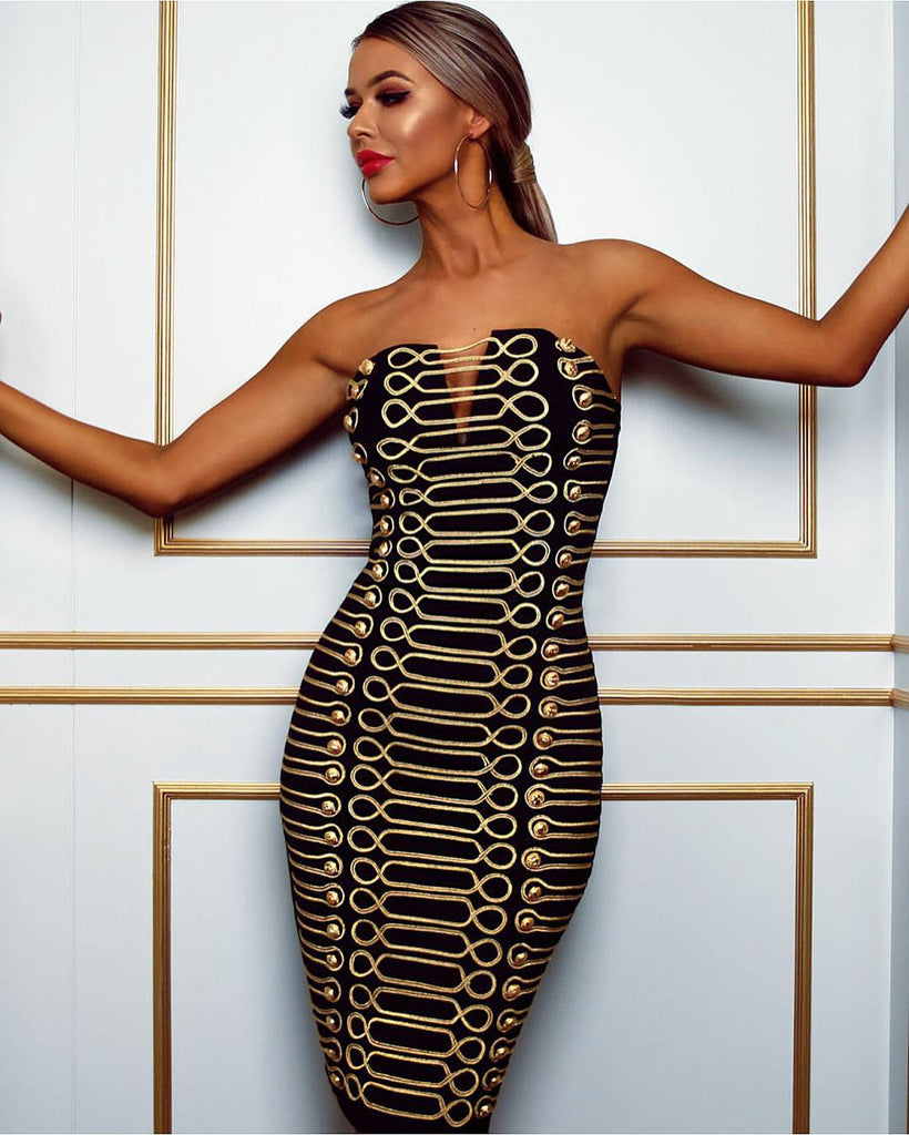 620eb1cac3a Kait Black Gold Bandage Dress – luxofchic