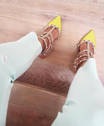 Nella Yellow Patent Leather Pumps-luxofchic-luxofchic