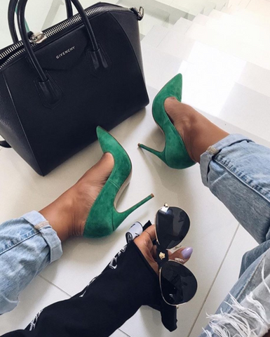 Leah Green Suede Leather Pumps-luxofchic-luxofchic