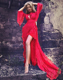 Ariana Red Lace Maxi-luxofchic-luxofchic