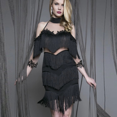 Dany Black Tassel Dress-luxofchic-luxofchic