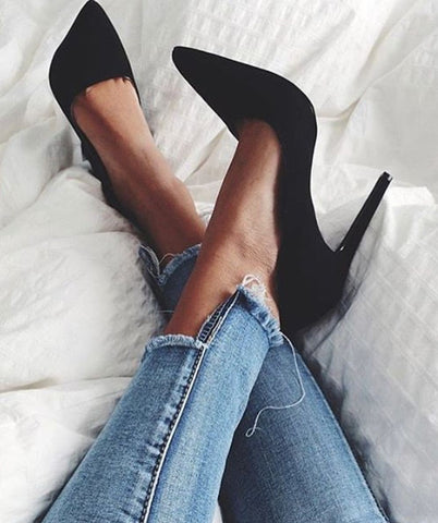 Leah Black Suede Leather Pumps-luxofchic-luxofchic