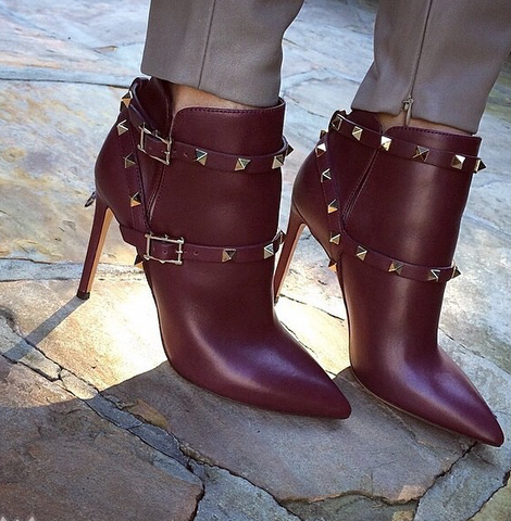 Bentle Maroon Leather Boots-luxofchic-luxofchic