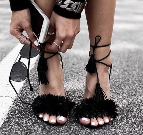 Berdi Black Genuine Leather Sandals