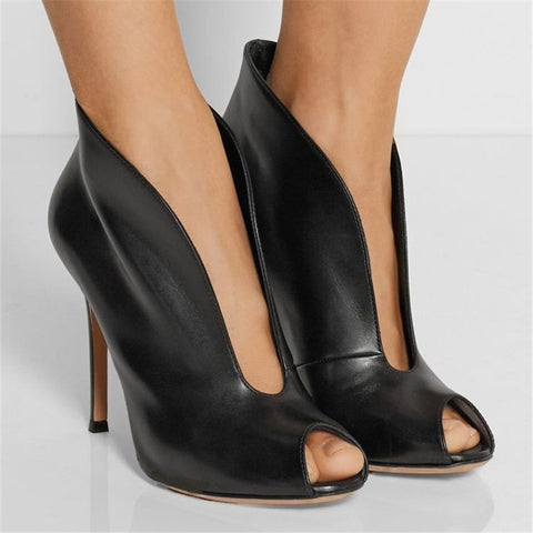 Joelle Leather Booties-luxofchic-luxofchic