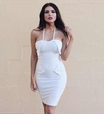 7070deee255 Alanis White Bandage Pearl Dress – luxofchic