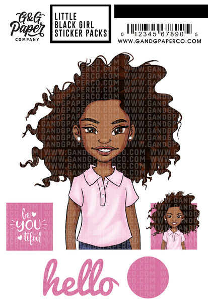 Little Black Girl Sticker Pack - Zoe