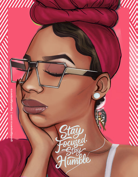 Stay Focused Stay Humble Pink Notebook