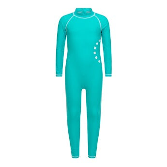 Turquoise/ white long-sleeved all-in-one swimsuit