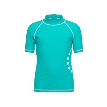 Turquoise/ white short-sleeved rash top (zipped)