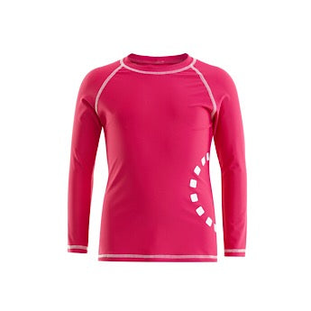 Magenta/ white long-sleeved rash top