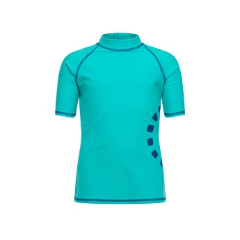 Turquoise/ blue short-sleeved rash top (zipped)