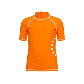 Orange/ white short-sleeved rash top