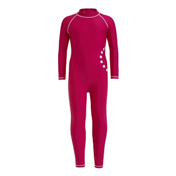 Magenta/ white long-sleeved all-in-one swimsuit