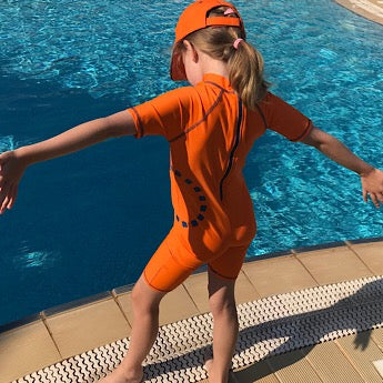 Orange/ blue short-sleeved all-in-one swimsuit