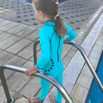 Turquoise/ blue long-sleeved all-in-one swimsuit