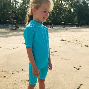 Turquoise/ white short-sleeved all-in-one swimsuit