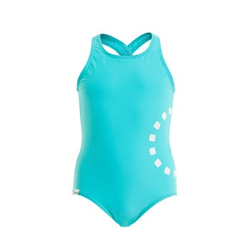 Turquoise cross-back swimming costume