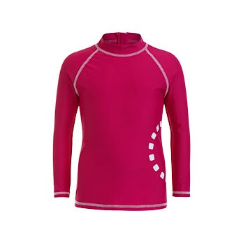 Magenta/ white long-sleeved rash top (zipped)