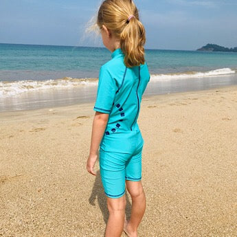 Turquoise/ blue short-sleeved all-in-one swimsuit