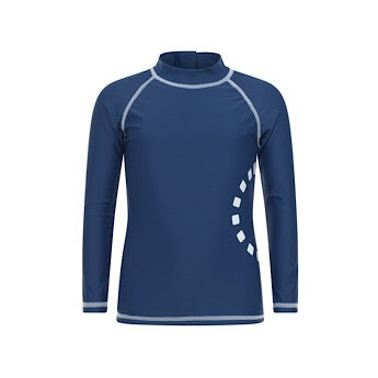 Blue/ white long-sleeved rash top (zipped)