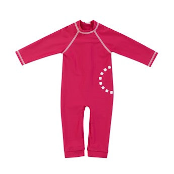 Magenta/ white long-sleeved baby all-in-one swimsuit