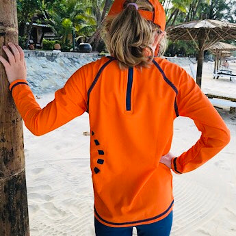 Orange/ blue long-sleeved rash top