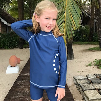 Blue/ white long-sleeved rash top