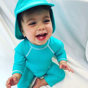 Turquoise/ white long-sleeved all-in-one baby swimsuit