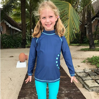 Blue/ turquoise long-sleeved rash top