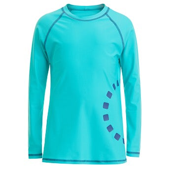 Turquoise/ blue long-sleeved rash top