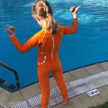 Orange/ white long-sleeved all-in-one swimsuit