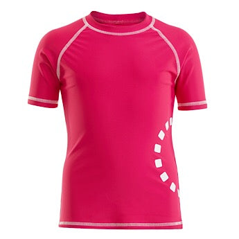 Magenta/ white short-sleeved rash top