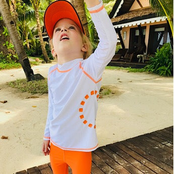 White/ orange long-sleeved rash top (zipped)