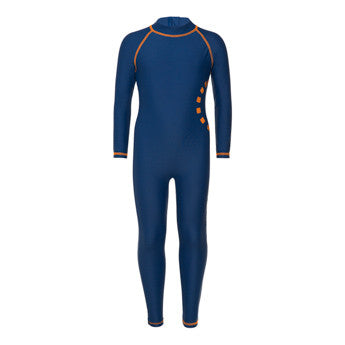 Blue/ orange long-sleeved all-in-one swimsuit