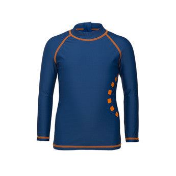 Blue/ orange long-sleeved rash top (zipped)