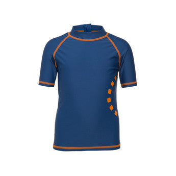 Blue/ orange short-sleeved rash top (zipped)
