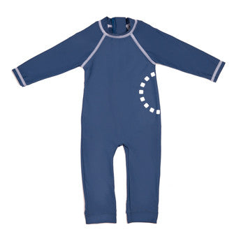 Blue/ white long-sleeved all-in-one baby swimsuit