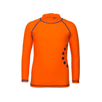 Orange/ blue long-sleeved rash top (zipped)