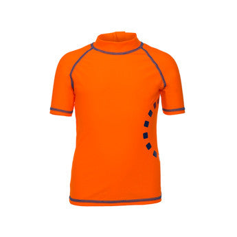 Orange/ blue short-sleeved rash top (zipped)