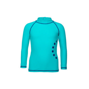 Turquoise/ blue long-sleeved rash top (zipped)
