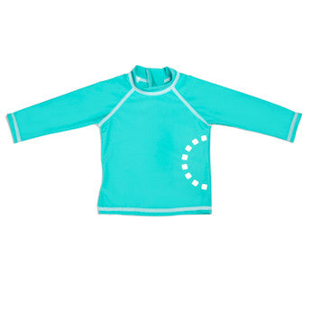 Turquoise/ white long-sleeved rash top
