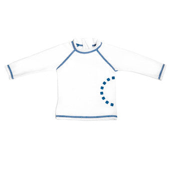 White/ blue long-sleeved rash top (zipped)