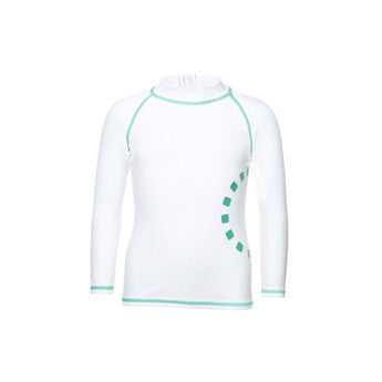 White/ turquoise long-sleeved rash top (zipped)