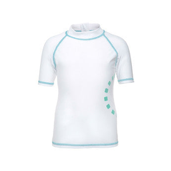 White/ turquoise short-sleeved rash top (zipped)
