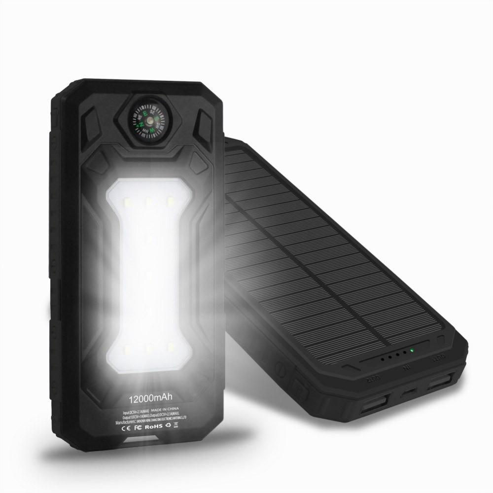 Mobile Accessories - 12000mAh Solar Panel Charger - With LED